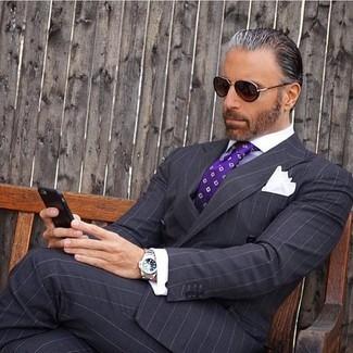 Pantalon de costume à rayures verticales noir Kris Van Assche