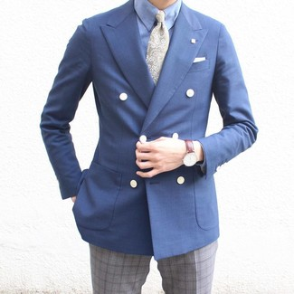 Comment porter une cravate imprimée cachemire vert foncé: Pense à porter un blazer croisé bleu marine et une cravate imprimée cachemire vert foncé pour une silhouette classique et raffinée.