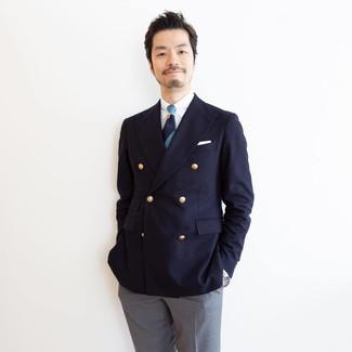Comment porter: blazer croisé bleu marine, chemise de ville blanche, pantalon de costume gris, cravate à rayures horizontales bleu marine
