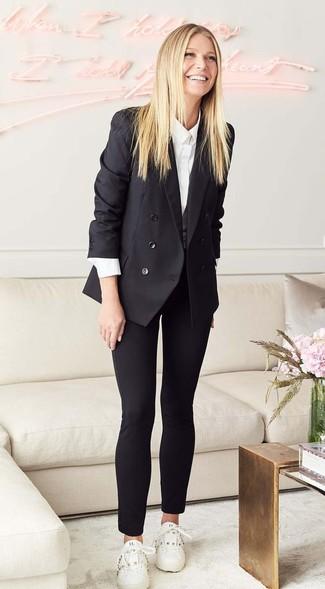 Comment porter  blazer croisé noir, chemise de ville blanche, pantalon slim  noir, 24244b650969