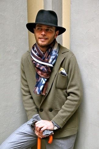 Gants en laine gris Saint Laurent