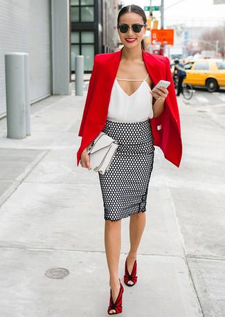 2b9e9795a51175 Comment porter une jupe crayon á pois noire (13 tenues) | Mode ...