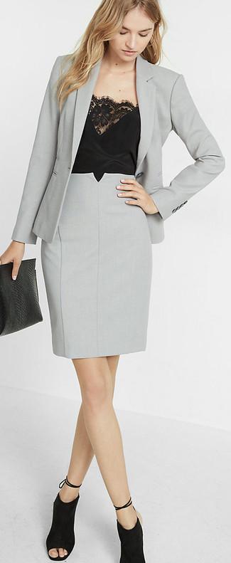 10643ac4c58b61 Comment porter une jupe crayon grise (84 tenues) | Mode femmes ...