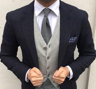 Gilet en laine gris Lardini