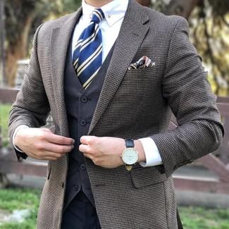 Pochette de costume imprimée bleu marine Gucci