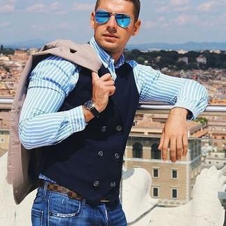 Chemise de ville à rayures verticales bleu clair N°21