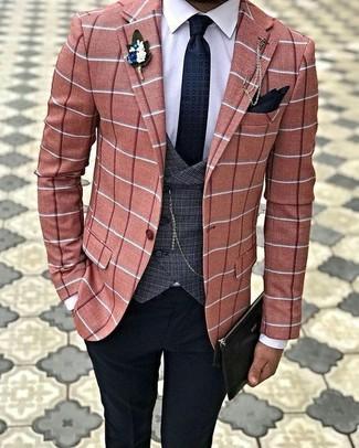 Comment porter: blazer à carreaux orange, gilet écossais gris foncé, chemise de ville blanche, pantalon de costume noir