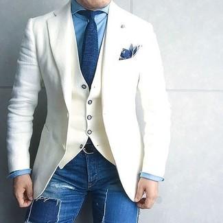 Opte pour le confort dans une chemise en jean bleue Saint Laurent et un jean skinny déchiré bleu.