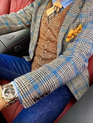 Comment porter: blazer en laine en pied-de-poule bleu, gilet en laine à chevrons marron, chemise en jean bleu clair, jean skinny bleu
