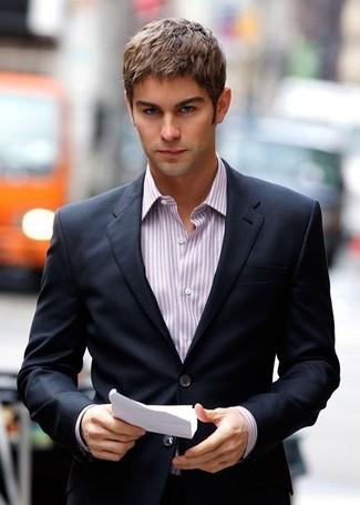 Blazer noir chemise de ville a rayures verticales blanc et pourpre large 857
