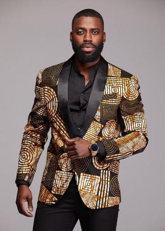 Comment porter une montre dorée: Pour une tenue aussi confortable que ton canapé, pense à porter un blazer imprimé noir et doré et une montre dorée.
