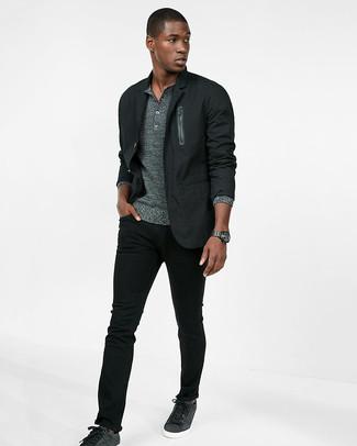 Comment porter  blazer en coton noir, pull à col boutonné gris, jean skinny de2b26138162