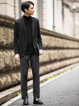 Pull à col roulé noir Calvin Klein