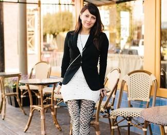 Blazer noir tunique a pois blanche leggings imprimes noirs et blancs large 2364