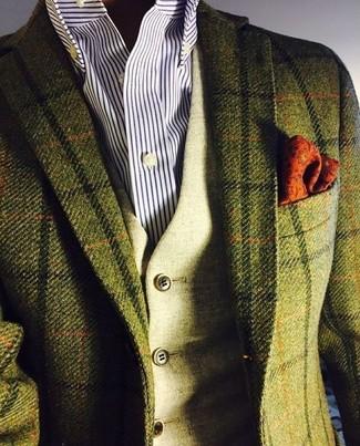 Comment porter un blazer en laine à carreaux vert foncé: Pense à harmoniser un blazer en laine à carreaux vert foncé avec un gilet en laine olive pour une silhouette classique et raffinée.