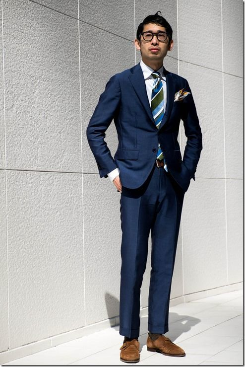 Men's Navy Blazer, Navy Dress Pants, Brown Suede Double Monks ...