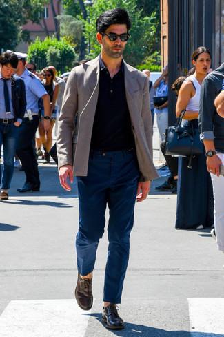 Chaussures derby en cuir marron foncé WALK LONDON