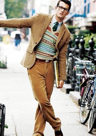 Pantalon de costume en velours côtelé marron clair Boglioli