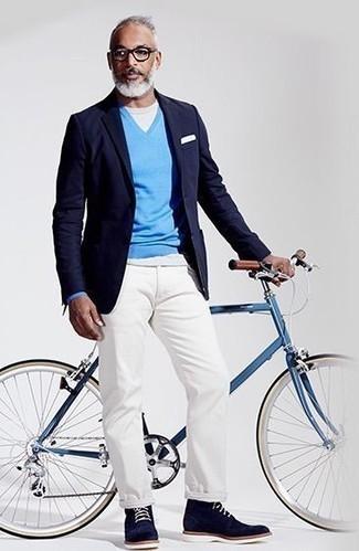 Pull à col en v bleu clair Gant