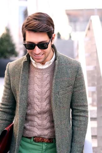 Blazer en laine à chevrons gris Ami