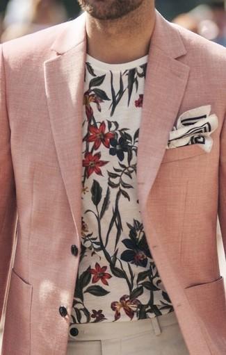 Tenue  Blazer en lin rose, T-shirt à col rond à fleurs blanc, Pantalon de  costume en lin beige, Pochette de costume imprimée blanche et noire   Mode  hommes ... 80873e0c8c1