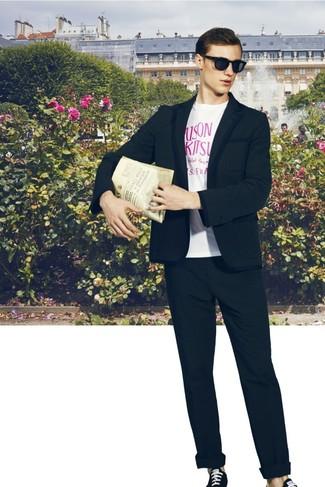 T-shirt à col rond imprimé blanc et rose Raf Simons