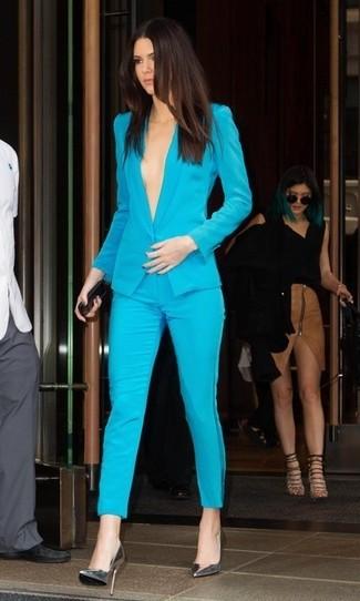 Blazer turquoise pantalon slim turquoise escarpins en cuir large 2749