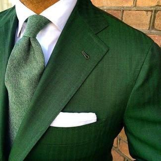 Comment porter: blazer vert, chemise de ville blanche, cravate verte, pochette de costume blanche