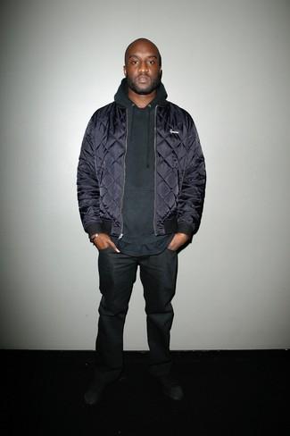 Blouson aviateur bleu marine sweat a capuche noir jean noir large 21999