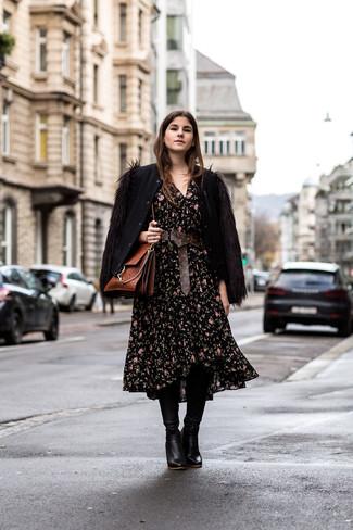 92f14c2da80 Une robe midi à porter avec des bottes hauteur genou noires (10 ...