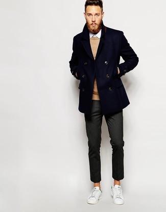 Pantalon de costume en laine gris foncé Incotex