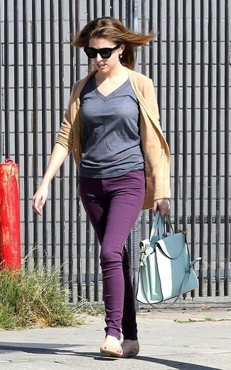 Cardigan t shirt a col en v jean skinny ballerines sac fourre tout large 1820