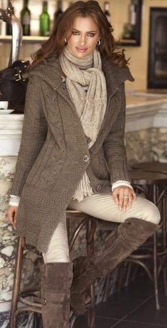 Cardigan t shirt a manche longue pantalon slim cuissardes echarpe large 5827