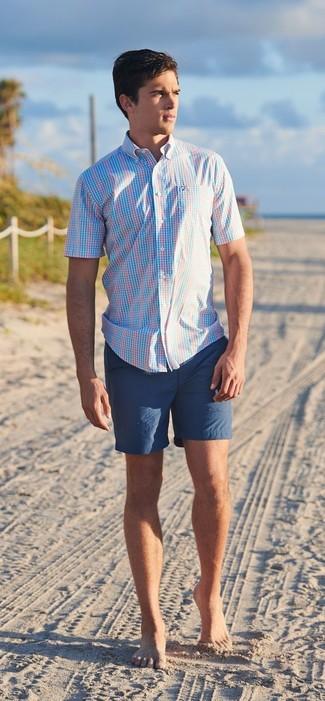 Comment porter: chemise à manches courtes écossaise bleu clair, short bleu marine