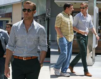 Chemise a manches longues blanc et bleu marine pantalon de costume vert fonce chaussures derby marron clair large 52