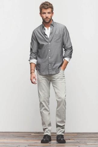 Chemise à manches longues grise Ben Sherman