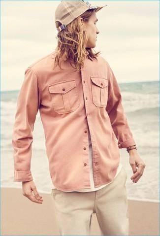 Chemise à manches longues rose Pierre Cardin