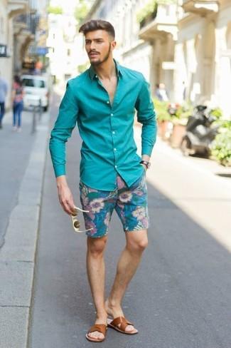 Chemise à manches longues bleu canard Venti