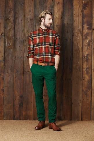 Pantalon chino vert foncé Boss Orange