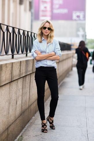 ... est une option judicieux pour complèter cette tenue. Comment porter   chemise de ville à rayures verticales blanc et bleu, pantalon slim noir 5b7f55315d3c