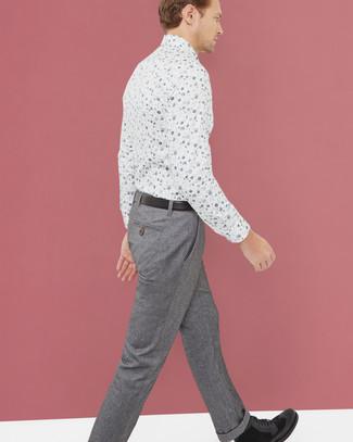 Pantalon de costume en laine gris Fendi