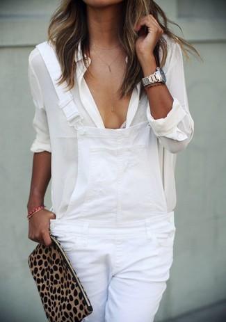 Chemise de ville en soie blanche Love Moschino