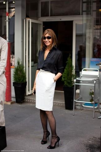 b7a1b8f92943f4 Des collants à porter avec une jupe crayon blanche (7 tenues) | Mode ...