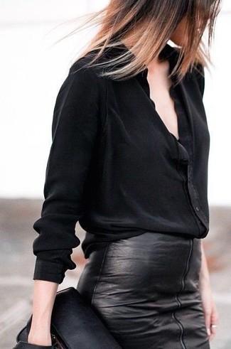cff78dadd24339 Comment porter une chemise de ville noire avec une jupe crayon noire ...