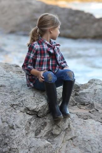 Comment porter: chemise de ville vert foncé, jean bleu, bottes de pluie noires