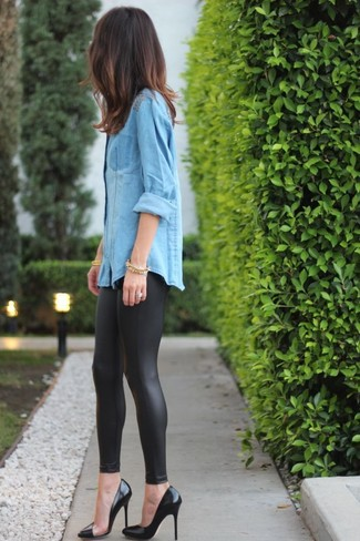 Leggings en cuir noirs Sylvie Schimmel