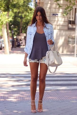 34ba0185761 Mode femmes › Mode femme années 30 Tenue  Chemise en jean bleu clair