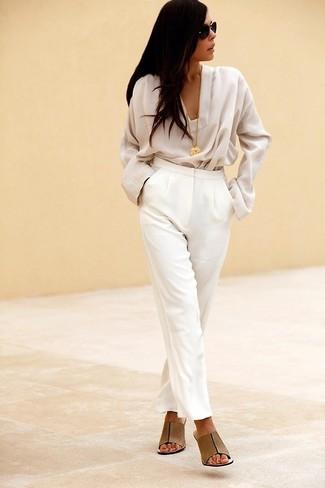 Pantalon de costume blanc Valentino