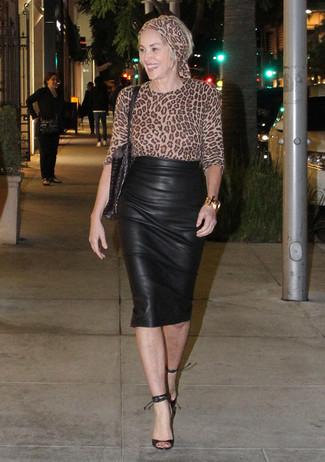 d0ecf01df0e3 Mode femmes › Mode femme années 50 Tenue de Sharon Stone  Chemisier à  manches longues imprimé léopard marron clair