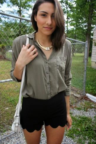 Sac bandoulière en cuir blanc Nina Ricci
